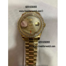 Rolex Day-Date Full Gold Diamond Bezel Watch