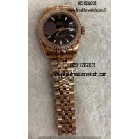 Rolex Datejust Rose Gold Diamond Ladies First Copy Watch