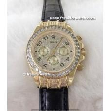 Rolex Daytona Black Arabic Scale Paved Diamonds Dial Luxury Watch