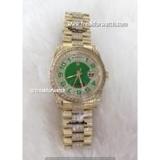 Rolex Day Date 36 Green Diamond Dial Yellow Gold Luxury Watch