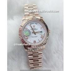 Rolex Day Date Roman Numerals White Dial Men's Watch