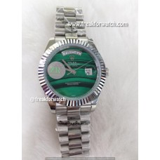 Rolex Day Date Malachite Green Dial Stainless Steel Men's Watch