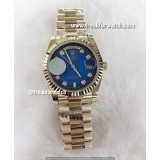 Rolex Day Date Diamond Marks Scented Blue Dial Luxury Watch