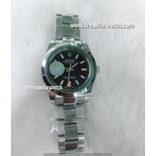 Rolex Milgauss Stainless Steel Green Crystal Black Dial Oyster Watch