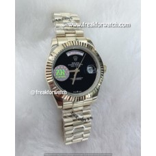 Rolex Day Date Black Dial Presidential Yellow Gold Bracelet Watch