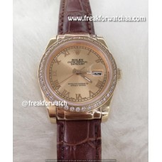 Rolex Datejust Diamond Bezel Everose Gold Dial Automatic Watch