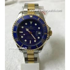 Rolex Date Submariner Dual Tone Blue Dial Men's Watch