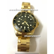 Rolex Date Submariner Automatic Full Gold Black Dial Men's Watch