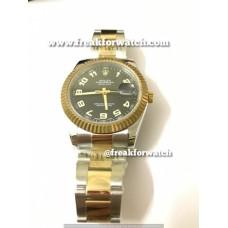 Rolex Datejust ETA Original Machine Dual Tone Black Dial Watch