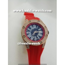 Richard Mille RM 033 Unisex Extra Flat Automatic Diamond Case White Red Strap Watch