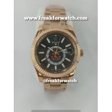 Rolex Sky Dweller Automatic Full Rose Gold Black Dial Men's Watch