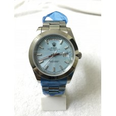 Rolex Day Date Automatic Stainless Steel White Blue Dial Watch