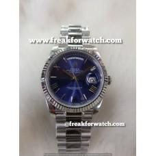 Rolex Day Date ETA 7750 Valjoux Original Machine Stainless Steel - Scented Blue Dial Men's Watch