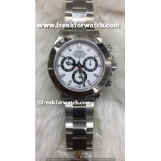 Rolex Daytona Chronograph ETA 4130 Valjoux Original Machine White Dial Men's Watch