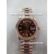 Rolex Day Date ETA 7750 Valjoux Original Machine Rose Gold Scented Brown Dial Men's Watch