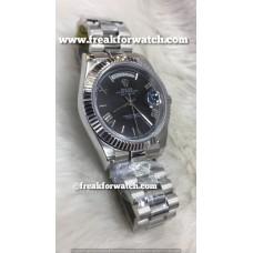 Rolex Day Date ETA 7750 Valjoux Original Machine Stainless Steel Black Dial Men's Watch