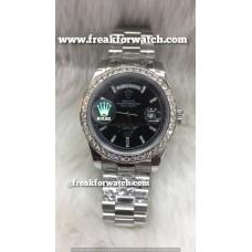 Rolex Day Date Diamond Bezel Black ETA Caliber 7750 Valjoux Original Machine Luxury Watch