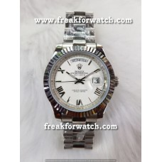 Rolex Day Date Stainless Steel White Dial Automatic Watch