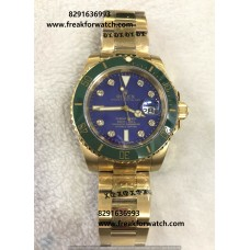 Rolex Date Submariner Limited Edition Full Gold Blue Dial Watch