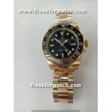 Rolex GMT Master II Rose Gold Black Dial Automatic Watch