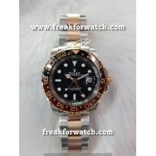 Rolex GMT Master 2 Black Dial Two Tone Bracelet Watch